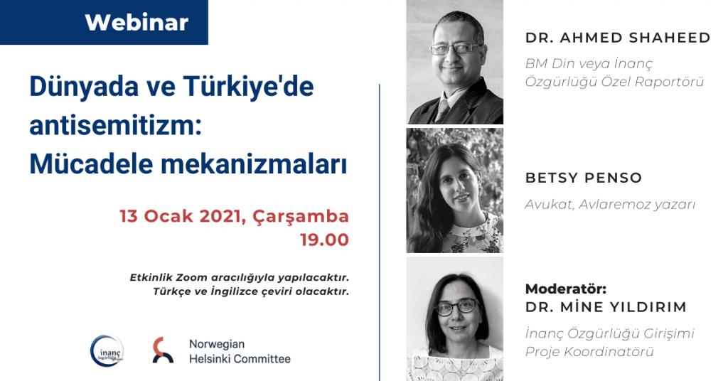 """""""Dünyada ve Türkiye'de antisemitizm: Mücadele mekanizmaları"""" webinarına davetlisiniz!"""